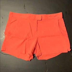 Theory Orange Linen Shorts